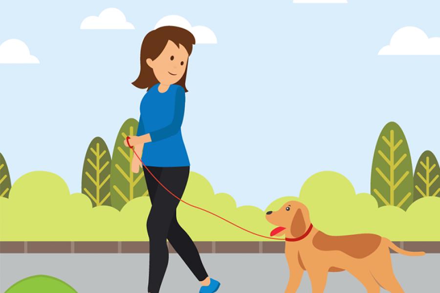 Tekening vrouw en hond